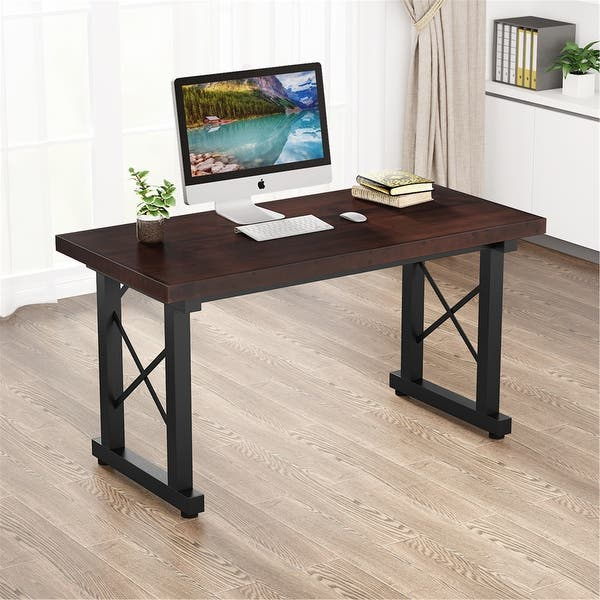 Shop 55'' Solid Wood Computer Desk Modern Study Desk - Dark walnut .