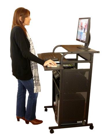 """S2445METAL 24"""" All Metal Standing Computer Desk - Black ."""