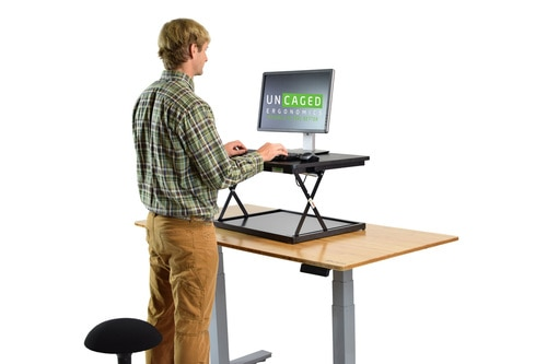 Small Standing Desk Converter Adjustable Sit Stand Computer Desk Ris