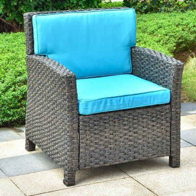 Charlton Home Stapleton Wicker Resin Patio Chair with Cushions .