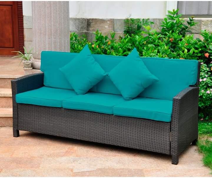 Charlton Home Stapleton Wicker Resin Patio Sofa with Cushions .