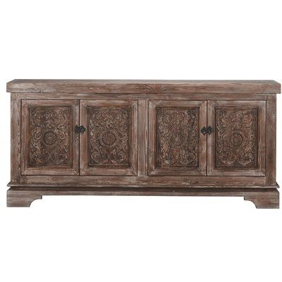 Bungalow Rose Steinhatchee Reclaimed Pine 4 Door Sideboard .