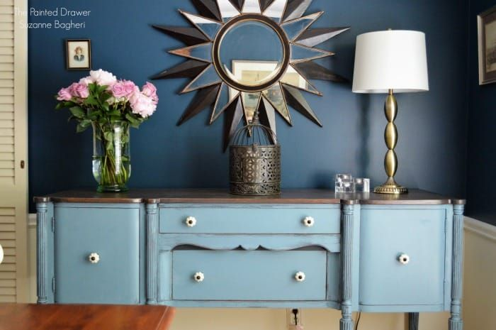 Stillwater Blue Sideboard in a Rainstorm Dining Room - | Painted .