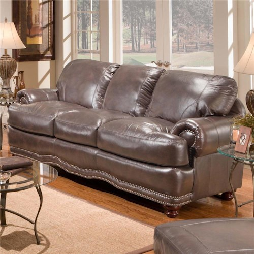 Stratford Olympus Stationary Leather Sofa with Nail Head Trim .