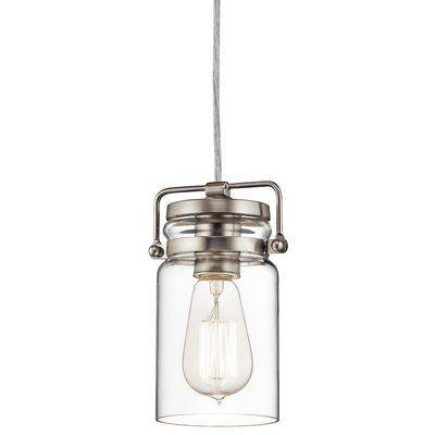 Greyleigh Sue 1-Light Single Jar Pendant Finish: Brushed Nickel in .