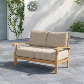 Summerton Teak Loveseat with Cushions & Reviews | Joss & Ma