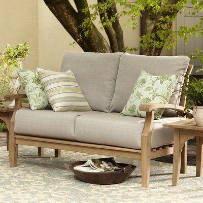 Summerton Teak Loveseat with Cushions | Outdoor furniture sale .