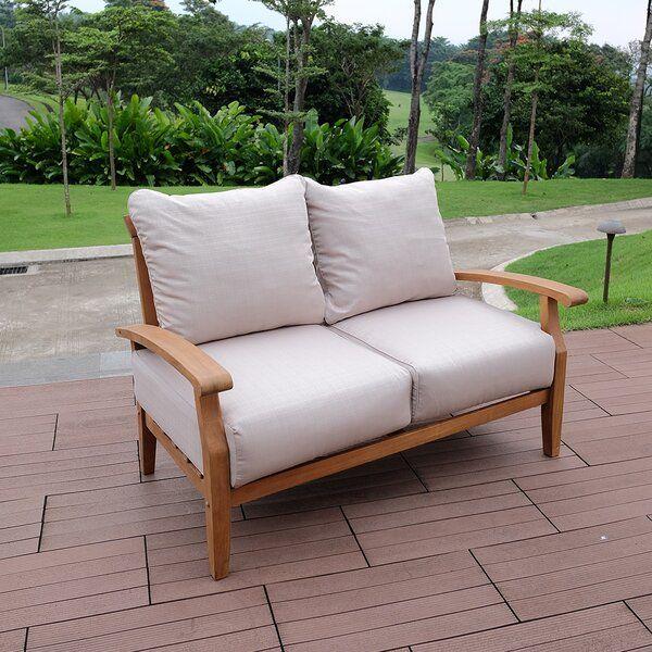 Summerton Teak Loveseat with Cushions | Elegant outdoor furniture .