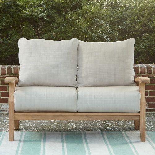 Summerton Teak Loveseat with Cushions | Love seat, Outdoor sofa .