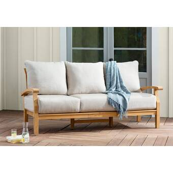 Summerton Teak Patio Sofa with Cushions & Reviews | Birch La