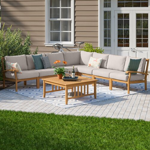 Birch Lane™ Heritage Summerton Teak Patio Sectional with Cushions .