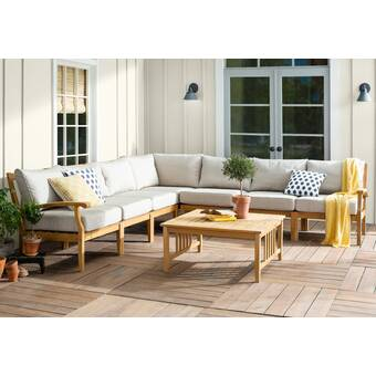 Summerton Teak Patio Sectional with Cushions & Reviews | Birch La