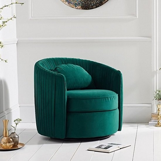 Medan Modern Swivel Sofa Chair In Green Velvet | Furniture in Fashi