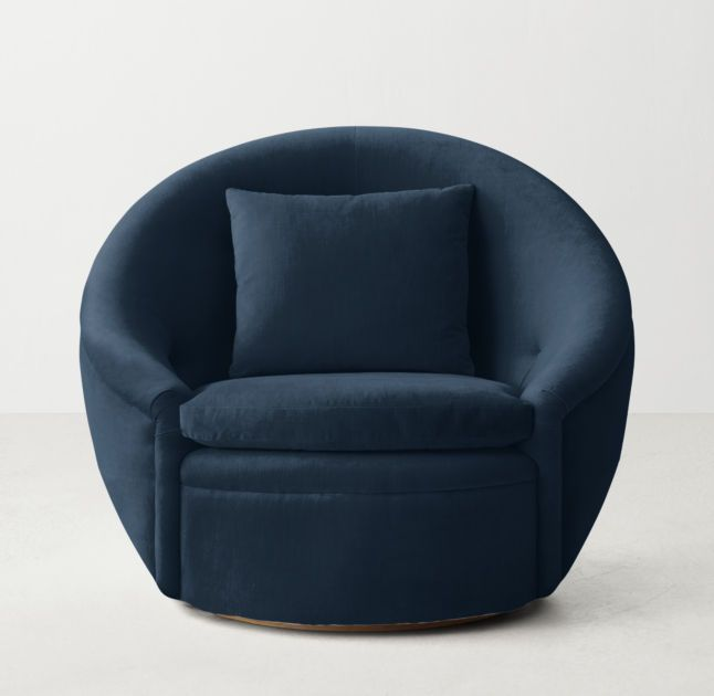 Oberon Velvet Swivel Chair RHTeen | Upholstered swivel chairs .
