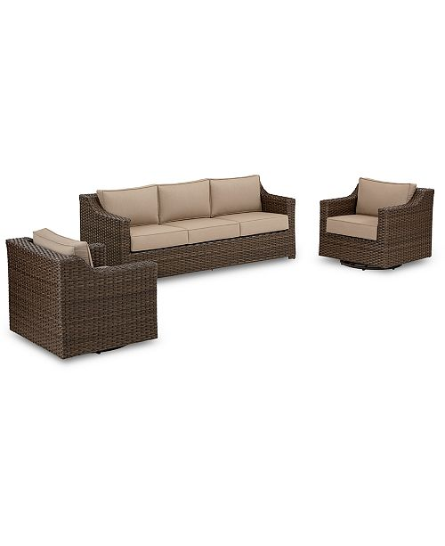 Furniture Camden Outdoor Wicker 3-Pc. Seating Set (1 Sofa & 2 .