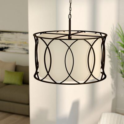 Tadwick 3-Light Shaded Drum Chandelier (With images) | Drum .