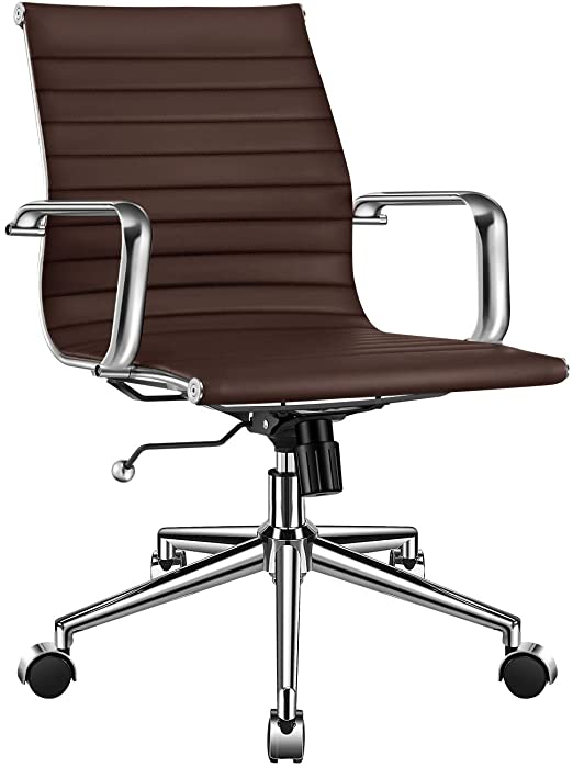 Amazon.com: LUXMOD Mid Back Office Chair with Armrest, Brown .