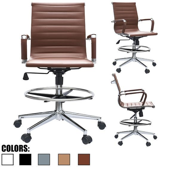 Shop 2xhome Brown Mid Back PU Leather Executive Office Chair .