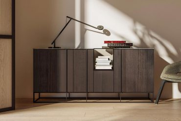 Tate Sideboard Collection with metal base and lacquered elemen
