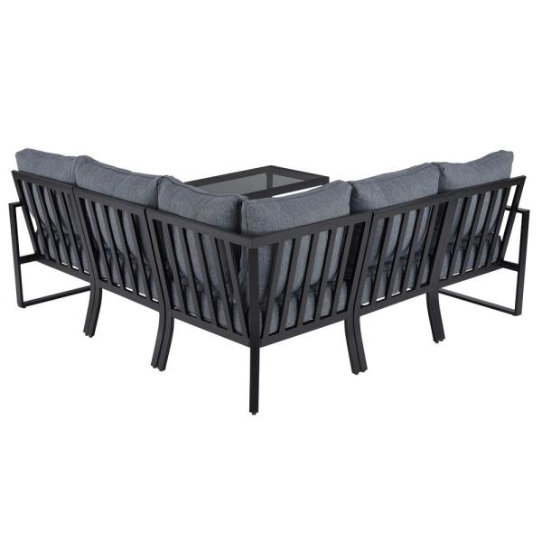 Hampton Bay Barclay 6-Piece Black Steel Outdoor Patio Sectional .