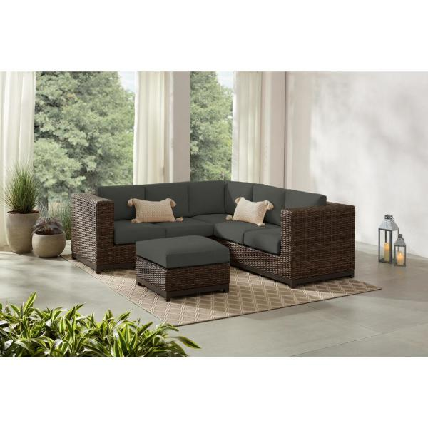 Hampton Bay Fernlake 4-Piece Taupe Wicker Outdoor Patio Sectional .