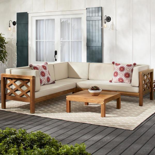 Hampton Bay Willow Glen Farmhouse Wood Outdoor Patio Sectional .