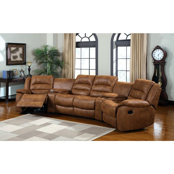 Shop Manchester Sectional home theatre Sofa with Built in .