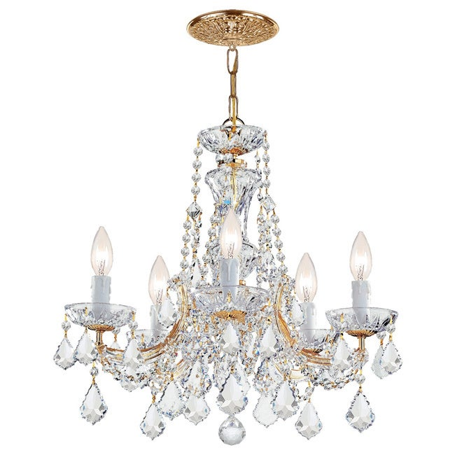 Shop Maria Theresa 5-light Gold/ Crystal Chandelier - Overstock .