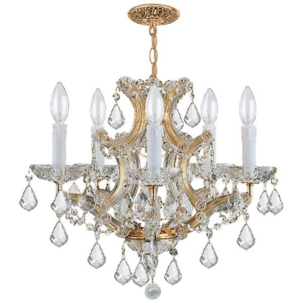 Shop Crystorama Maria Theresa 5-light Gold/ Crystal Chandelier .