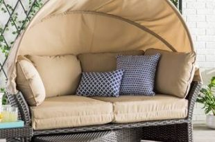 Laurel Foundry Modern Farmhouse Tiana Patio Daybed with Cushions .