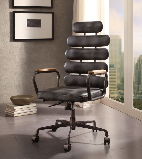 Calan Vintage Black Leather Executive Office Chair - 1StopBedroom