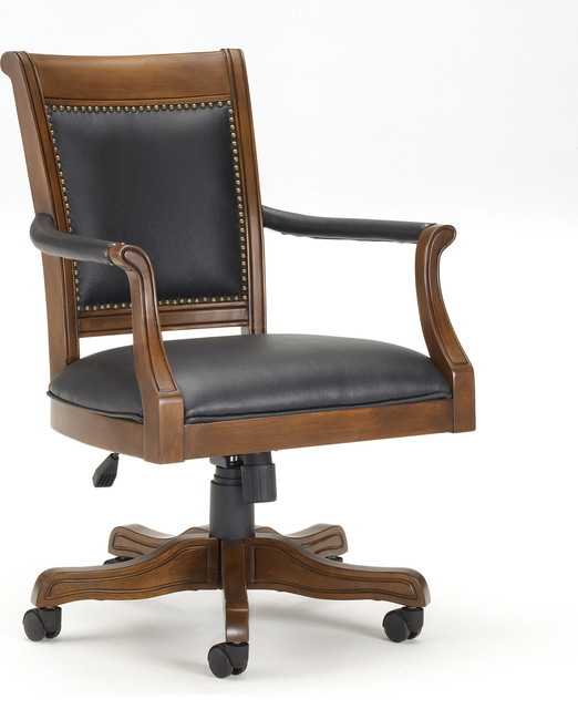 Kingston Square Leather Back Game Chair - Traditional - Office .