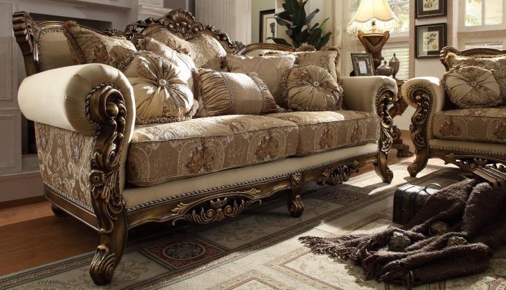 HD-506-S Traditional Sofa in Gold Fabric by Homey Desi