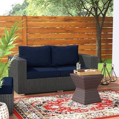 Brayden Studio Tripp Loveseat with Cushions Fabric: Navy | Outdoor .