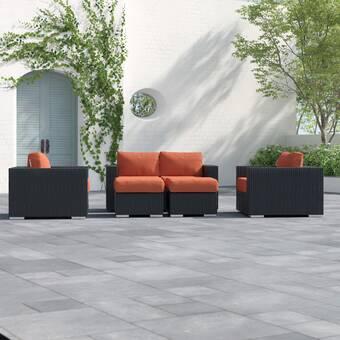 Tripp 5 Piece Rattan Sunbrella Sofa Seating Group with Cushions .