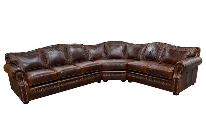 Elegant Rustic Tucson Leather Sectional | L Shape Sectional Couch .