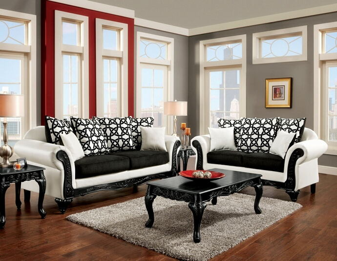 SM7600 2 pc dolphy two tone black fabric white leatherette sofa and .