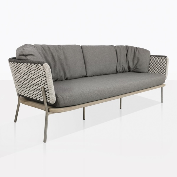 Studio Rope Sofa Two Tone Weave in Cream and Gray | Teak Warehou