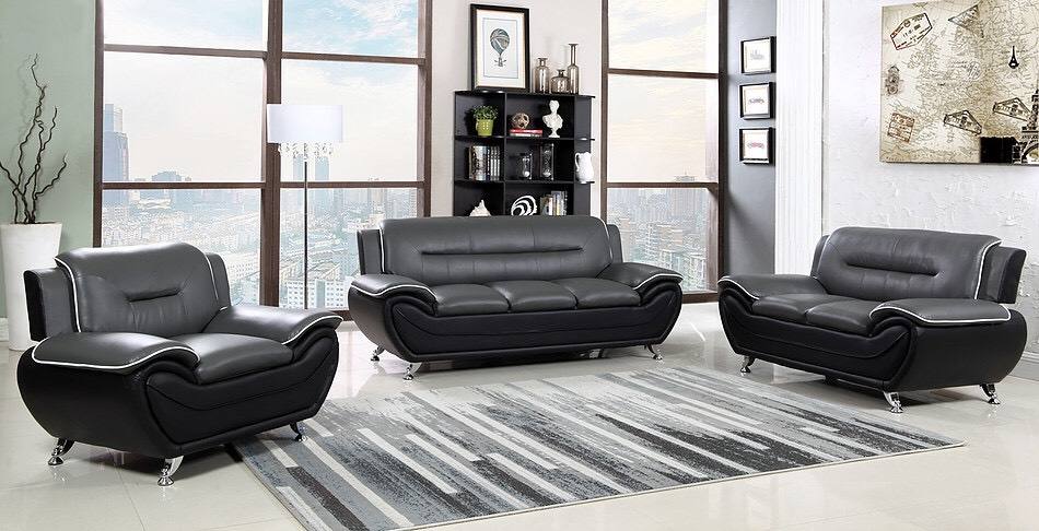 Black & Grey Two-Tone Sofa, Loveseat and Chair S