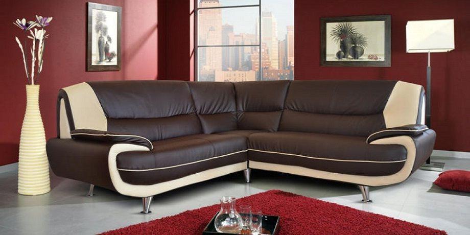 Two Tone Leather Corner Sofa | Leather corner sofa, Small room .