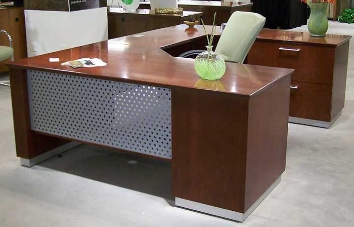 MODERN U-SHAPED EXECUTIVE DESK With Metal and Wood Designer Office .