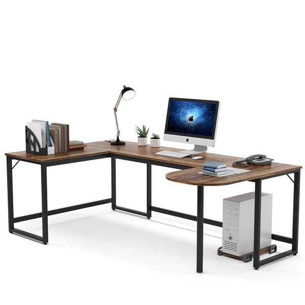 Shop U Shaped Computer Desk Writing Table with Printer Stand .