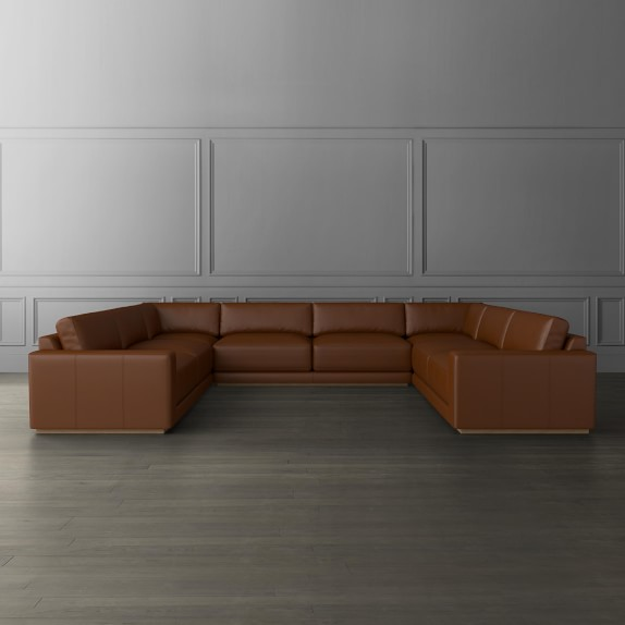 Berkshire 5-Piece U-Shape Leather Sofa, Leather Sectional .
