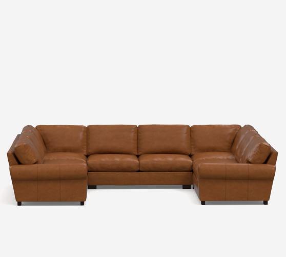 Turner Roll Arm Leather 5-Piece U Shaped Sectional Sofa | Pottery Ba