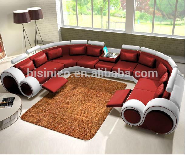 New Design Modern Creative U Shape Genuine Leather Sectional Sofa .