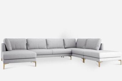 Adams U-Shape Sectional Sofa with Chaise, Dove Gray, Left Facing .