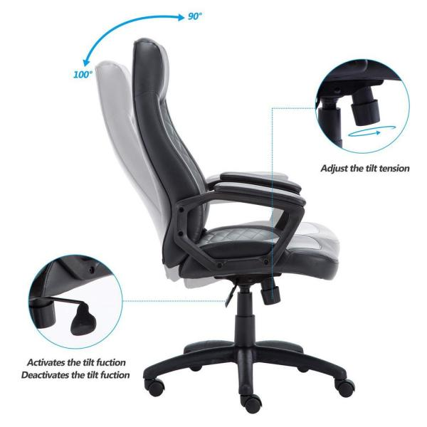 Boyel Living Grey Swivel Executive Office Chair with Unique .
