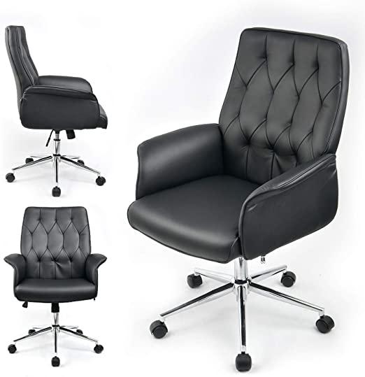 Amazon.com: ComHoma Modern Home Office Chair Vegan Leather .