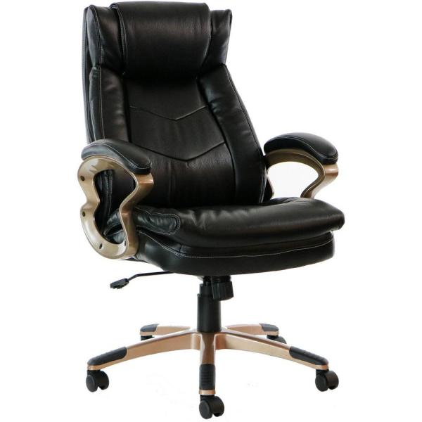 Hanover Atlas Black Executive Office Chair with Upholstered Faux .