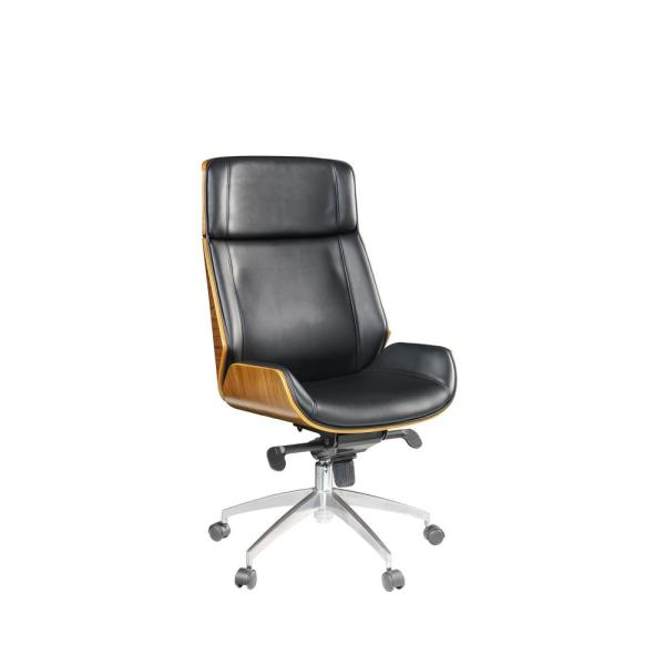 HomeRoots Amelia Black Bonded Leather Upholstered Casters .